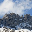 Stock Photo: Dolomites in Italy with blue skies and clouds