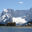 Frozen Alpine Lake Misurina with dolomiti mountains — Stock Photo