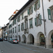 Main road of Tolmezzo, a town in Northern Italy — Stock Photo