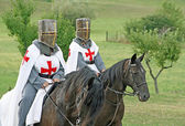 Two medieval crusaders shall strutting — Stock Photo