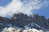 Dolomites in Italy with the blue skies and clouds — Stock Photo