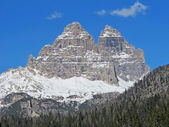 Tre Cime di Lavaredo Misurina lake views in cadore in Italy — Stock Photo