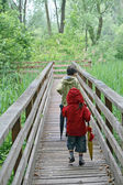 Children who walk the nature trail in a nature park — Stock Photo