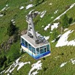 Cable car or  funicular railway to transport tourists on the mountain top — Foto de Stock