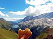 Sandwich in the mountains — Stock Photo