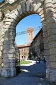 Entrance to the Teatro Olimpico in Vicenza and the tower in the background — Stock Photo