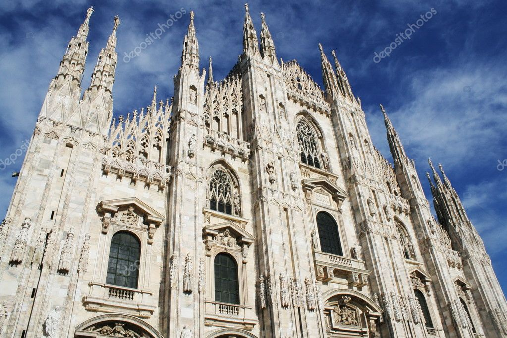 White Milan Cathedral in Gothic italian style  Stock Photo #8834310