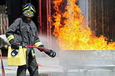 Firefighters extinguished a fire hazard during a training exercise in the f — Стоковое фото