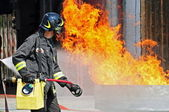 Firefighters extinguished a fire hazard during a training exercise in the f — Foto de Stock