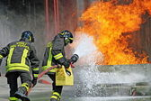 Firefighters extinguished a fire hazard during a training exercise in the f — Stockfoto