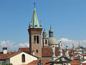 Towers and steeples of an Italian city near Venice — Stock Photo