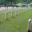Headstones with crosses in a row — Stock Photo