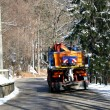 Truck with Snowplow and spread salt on the ice in winter — Stock Photo