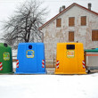 Stock Photo: Containers for waste collection as glass and plastic