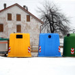 Stock Photo: containers for waste collection as glassand paper
