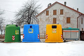 Containers for waste collection as glass and plastic — Stock Photo