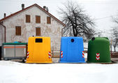 Containers for waste collection as glassand paper — Stock Photo