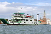 Ship type ferry to transport vehicles in the lagoon — Stock Photo