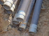 Tubes used to lay the conduits of electricity underground — Stock Photo