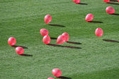 Pink balloons flying over the grass of the stadium — Stock Photo