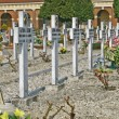 Graves  headstones and crucifixes of a cemetery in Italy — Stock Photo