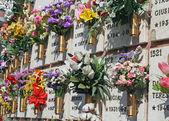 Groby nagrobki i krzyże cmentarza odkryty — Zdjęcie stockowe