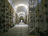 Groby nagrobki i krzyże cmentarza kryty — Zdjęcie stockowe
