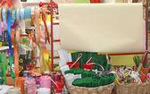 Almacenar embalaje y decoración con cintas — Foto de Stock