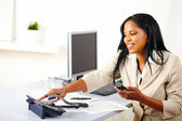 Professional woman making a call — Stock Photo