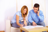 Couple working with documents — Stock Photo