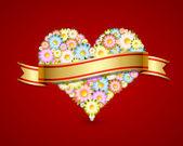 Coeur floral avec ruban — Vecteur