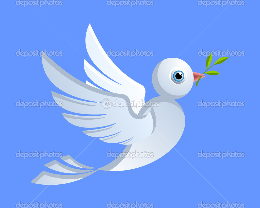 Flying dove of peace with green twig — Stock Vector #8495855