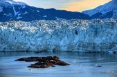 Sunrise & Hubbard Glacier Rocks — Stock Photo