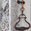 Old wrought iron bell handle — Stock Photo