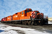 Locomotives in winter — Stock Photo