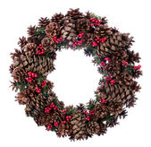Christmas fir tree cones wreath — Stock Photo