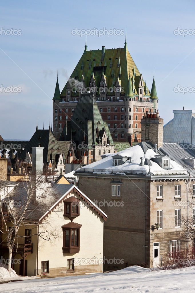 View with the Frontenac Castle and some other buildings in a clear winter day — Stock Photo #9198626