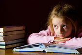 Studying girl & books — Stock Photo