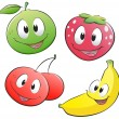 Cute Cartoon Fruit — Stock Vector