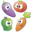 Cartoon Vegetables — Stock Vector