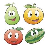 Cute Cartoon Fruit — Stock Vector