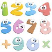 Cartoon Numbers — Stock Vector