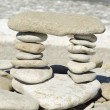 Stack of zen stones on the beach — Foto de Stock