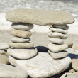 Stack of zen stones on the beach — 图库照片