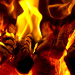 Fire in a fireplace closeup — Stock Photo