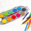Color pencils and paints — Stock Photo #9654394