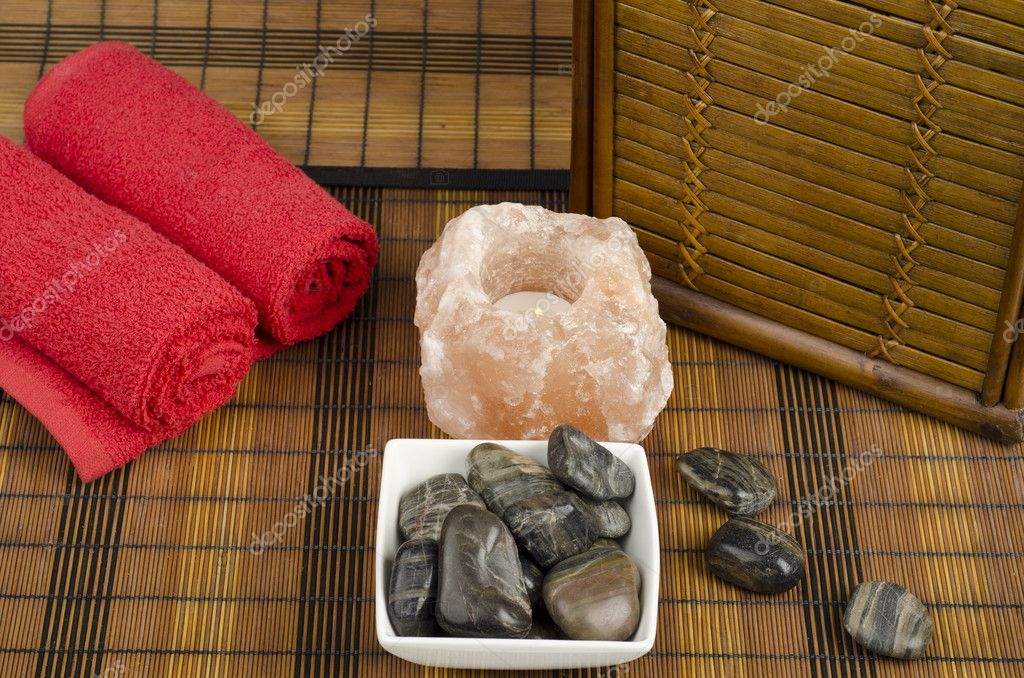 Image of spa concept with stones, salt and towels — Stock Photo #9934599