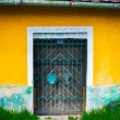 Locked door and colorful yellow wall and grass foreground - Foto Stock