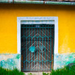 Locked door and colorful yellow wall and grass foreground — Stock Photo
