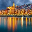 Provence village Menton after sunset — Stock Photo #10459041